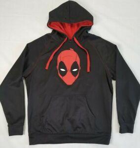 Marvel Black Deadpool Hoodie Sweatshirt Adult Large Red Head Pockets Jacket