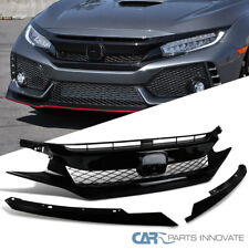 For 16-18 Honda Civic Glossy Black Polished T-R Style Front Bumper Hood Gurad
