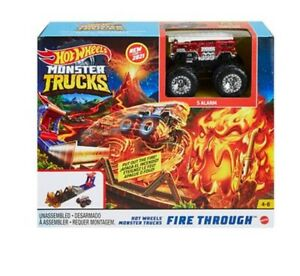 Mattel Hot Wheels Monster Trucks  GYL12 Fire Through mit Truck 5 Arlarm