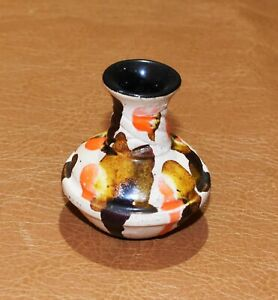 """Miniature 2.5"""" Pottery Stoneware Vase Signed """"Laine"""" Bud Vase"""