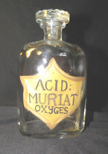 Apothecary Bottle Jar Pharmacy Medicine Glass Stopper Painted Label ACID MURIAT