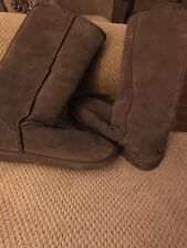 UKALA Brown Suede Boots 100% Merino Wool Lined Womens Size W 10