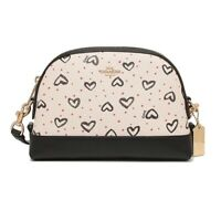 NWT COACH Dome Crossbody Shoulder Crayon Hearts Love Canvas Chalk Pink 91152