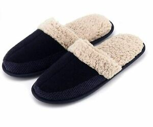 Men Woolen Slippers with Memory Foam Anti-Slip House Breathable Indoor Shoes