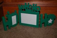 MAKE the SEASON BRIGHT Kohl's Christmas Ho Ho Hinged 3 Picture Photo Frame Green