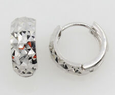 14K White Gold 5mm Width Multifaceted Dia-Cut Rounded Small Hoop Huggie Earrings