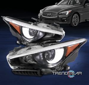 For 2014-2017 Q50 w/o AFS LED Chip DRL Projector Headlights Headlamp Black LH+RH