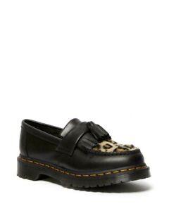 Dr Martens Adrian Leopard Print Faux Fur Tassel Loafers Black Size UK 3