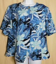 Kathy che womens 18 Blue floral,button round neck career Tropical top T2-11