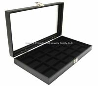 1 Glass Top Black Collectibles Lighter Collectors Display Box Case