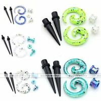 3pair Acrylic Spiral Taper Stretcher Ear Tunnel Plug Stretching Expander Kit Set