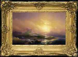 Old Master Art Oil Painting Antique The Ninth Wave Ivan Aivazovsky Canvas 24x36