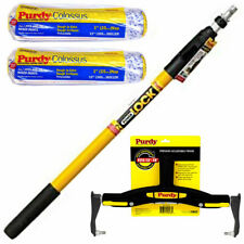 """Purdy PowerLock 2-4 Extension Pole- Paint Roller Frame & 2 x 12"""" Colossus Sleeve"""