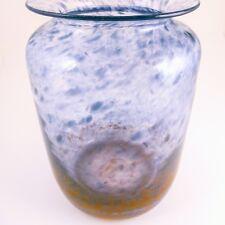 John Orwar Lake for Ekenas Sweden Art Glass Vase, Blue Gray to Rust, Mid-Century