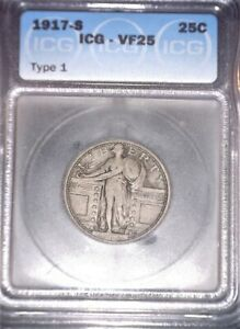1917-S Standing Liberty Quarter, ICG VF25 , Type One, Issue Free
