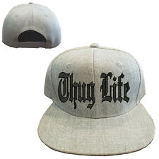 Heather gray wool blend THUG LIFE Vintage Snapback Cap Hat