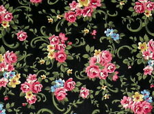"""New listing 4 Yds Vintage Fabric~Pink Roses on Black~100% Cotton~144"""" x 45"""""""