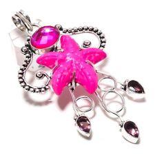 "Star Fish - Pink Howlite, Pink Mystic, Amethyst Jewelry Pendant 2.13"" P-1219"