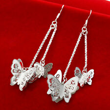 Women Pretty 925 Silver Butterfly Long Drop Dangle Earring Jewelry Gift