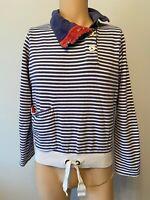 Joules Jumper Ladies Womens Size 10 Navy Blue White Stripe Sweatshirt Red 12