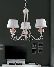 Lampadario classico in ferro battuto bianco e rosa 3 luci pre Ls 163/3