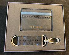 BNIB TED BAKER LONDON Men's Black Leather Card Holder & Key Ring.Gift Set Idea