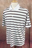 Adidas Golf Climalite Polo Short Sleeve White Black Red Stripe Shirt Men's L