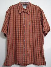 Columbia XCO Large Orange Black Plaid Button Cotton Short Sleeve Cotton Shirt