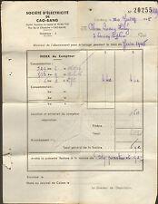 VIETNAM FACTURE SOCIETE D' ELECTRICITE DE CAO-BANG 1945