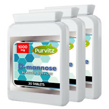 D-Mannose 1000mg 90 Tablets Dmannose UTI Bladder Support & Cystitis Purvitz UK