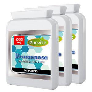 D-Mannose 1000mg x3 Bottles Dmannose UTI Bladder Support & Cystitis Purvitz UK