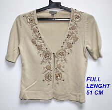 ANN TAYLOR BEADED BEIGE CREAM COLOR  JACKET TOP BLOUSE CARDIGAN SIZE S LENGHT 51