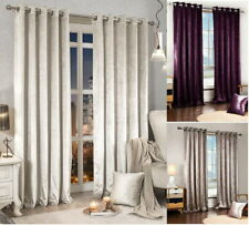 Luxury Faux velvet eyelet curtains ,Ready Made Fully lined Eyelet Top Pair