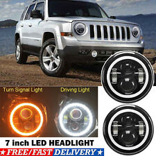 Led Projector Headlight 7 Inch 75w Halo Drl Angel Eyes For 2007 15 Jeep