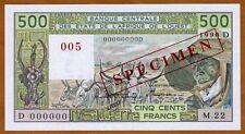 SPECIMEN West African States, Mali, 500 Francs, 1990 P-406Ds UNC