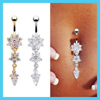Fashion Crystal Flower Dangle Navel Belly Button Ring Bar Body Piercing Jewelry