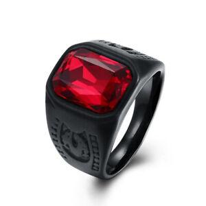 Ruby Men Women Fashion Jewelry Crystal Black Stainless Steel Red Gem Biker Rings