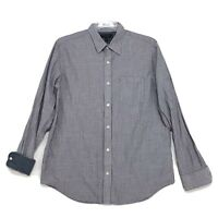 Banana Republic SLIM FIT Shirt Mens L Large Gray Striped Long Sleeve Flip Cuff