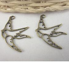 10pcs antiqued bronze swallow pendant charm G588