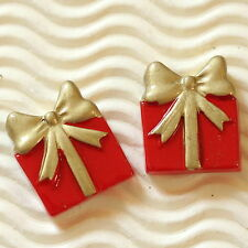 "10 x 7/8"" Resin Flatback Christmas Gift Box Beads for X'mas Cards/Crafts SB480"