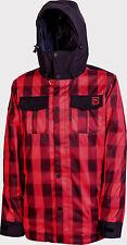 New 2014 Mens Nitro Greaser Snowboard Jacket Large Red Plaid Black