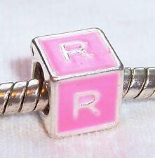 Alphabet Letter R Initial Pink Enamel Cube Charm Gift for European Bead Bracelet