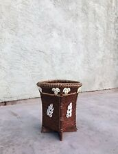 Vintage Wicker And Cowrie Shell Planter - Cowrie Shell & Wicker Waste Basket