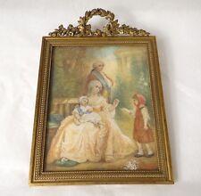 Miniature peinte famille royale cadre bronze doré XIXè