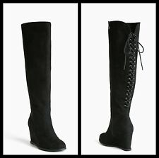 NIB Torrid Size 8W Black Lace Up Back Wedge Knee-High Boots (Wide Width)