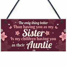 Handmade Sister Auntie Gift For Birthday Quote Plaque Thank You Her