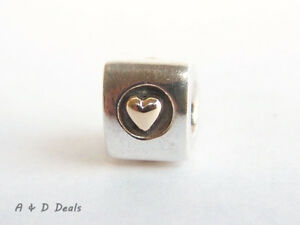 Pandora Genuine Sterling Silver & 14ct Gold Heart of Charm #790305 - RETIRED
