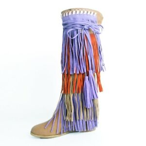 Lady Knee High Boots Multi-color Fringed Wedge Heel Casual Gladiator Shoes 34-47