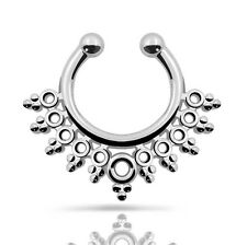 1pc Tribal-Fan Cheater Nose Rings No-Folding Septum Clicker Bull Rings No.0133