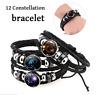 12 Constellation Zodiac Sign Charm Pendant Leather Bangle Cuff Bracelet Adjustab